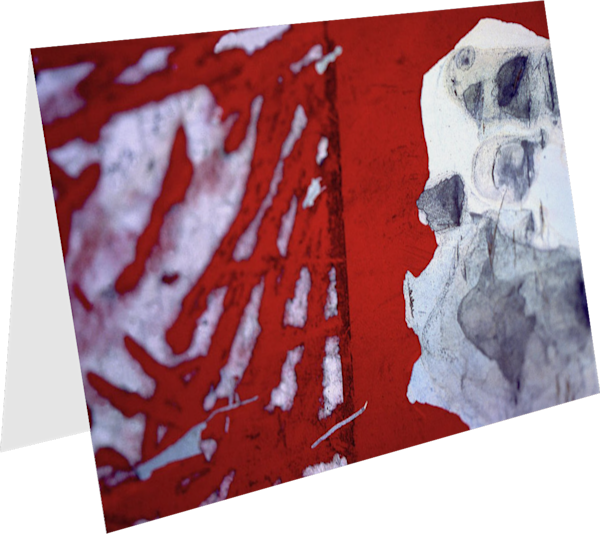 Abstract Red White Street Collage Art Card – Sherry Mills