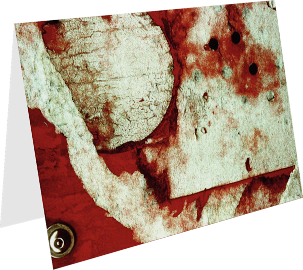 Weathered Firebox Red Abstract Fine Art Card – Sherry Mills