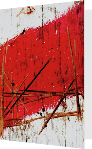 Red Dramatic Abstract NYC Wood Fine Art Card – Sherry Mills