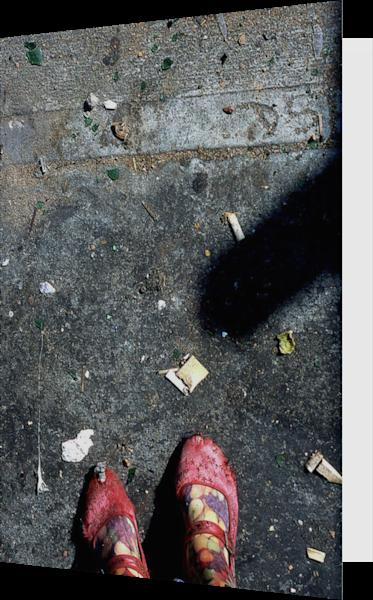 Bowery Me Sidewalk Shoes Art Greeting Card– Sherry Mills