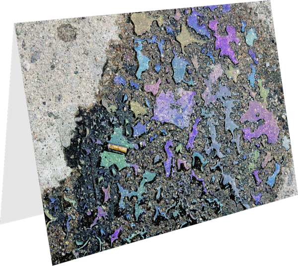 Abstract Colorful Oil Spill Sidewalk Card – Sherry Mills