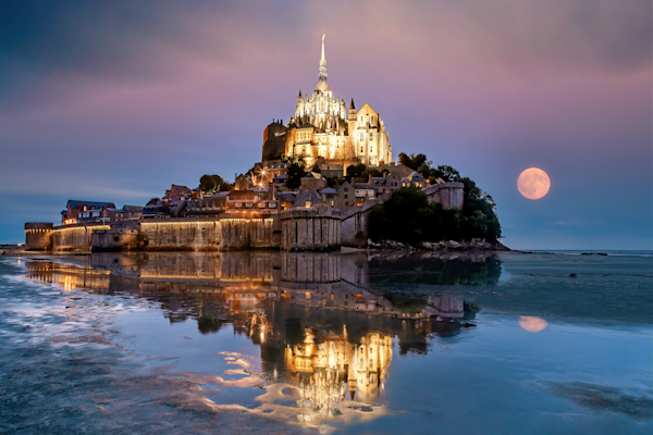 Print Art Mont Saint Michel Normandy France Full Moon Rising