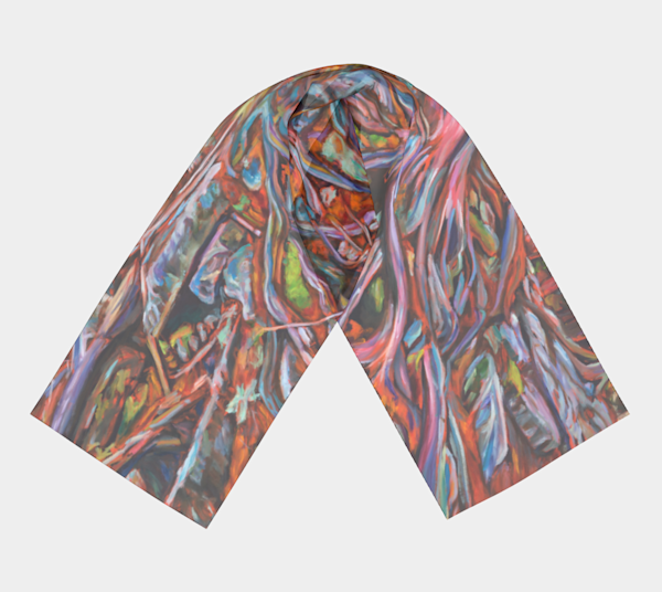 Resilience: 100% silk scarf featuring original art by Janet Jardine: cedar roots at Hilton Falls Conservation Area; 10x45 inches, 16 x 72 inches