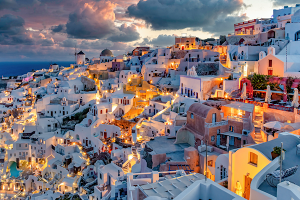 Print Art Oia Santorini Greece Morning Lighting