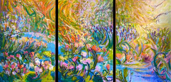 Garden Of Seven Graces Triptych Art | Dorothy Fagan Joy's Garden