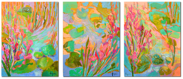 Pond Of My Own Triptych Art | Dorothy Fagan Joy's Garden
