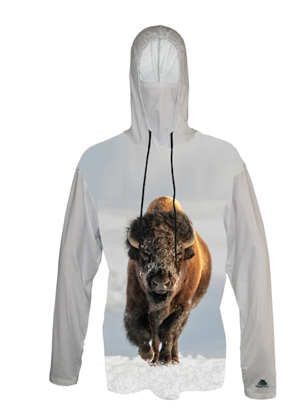 Winter March   Bison Sun Protective Wildlife Graphic Hoodie   Last Chance Gallery