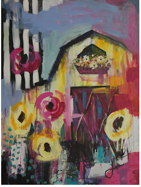 Treasure Hunting Barn Painting by Jennifer Ferris