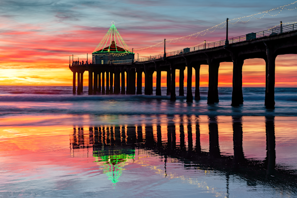 Print Art Manhattan Beach Pier Pier and Reflections