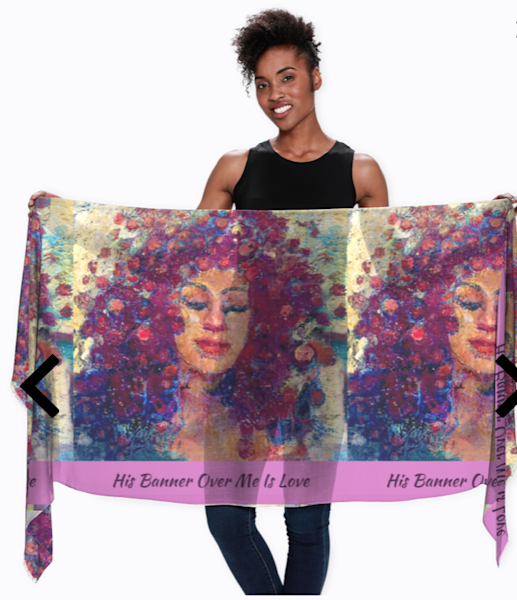 "Handprinted art scarf woman of color worship Scarf soft modal botanical silk worship scarf with multiple image honey skinned woman with Bible verse, ""His Banner Over Me is Love"" by Monique Sarkessian."