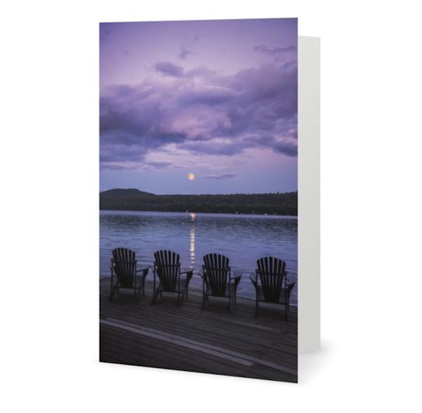 Purple Adk Chair Moon Rise Card | Kurt Gardner Photogarphy Gallery