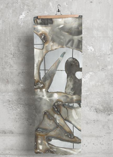 Modal scarf handprinted with Monique Sarkessian's prophetic art, Metal Abstract Joy of Life Matisse sculpture image.