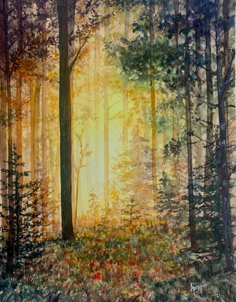 """Breaking Through"" in Watercolors by Aprajita Lal (Original is 20X16 inches)"