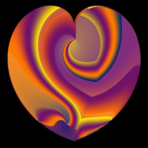 Heart With Sunset Swirls/Merch Art | karenihirsch
