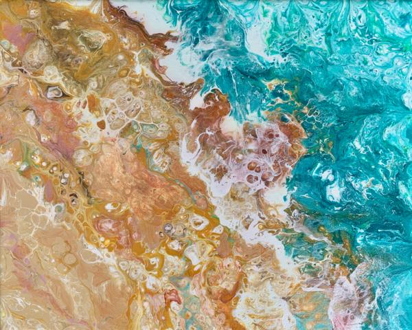 "Abstract Art Acrylic Painting ""Golden Sands""  | Deborah Younglao"