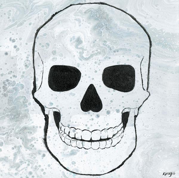 Embellished Skull Acrylic Pour Painting