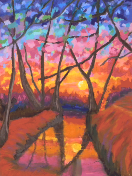 A sunset coming through a dense forest of trees on the winter solstice done in soft pastels using a stained-glass effect.