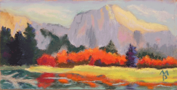 Original soft pastel painting of Yosemite's mountains from a meadow during the late fall.