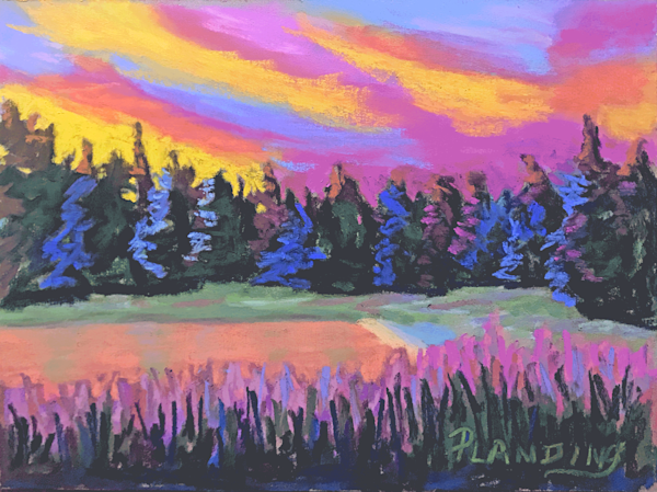 Pastel painting of riveting summer sunset at Cherry Lake in the Sierra Nevada mountains in California.