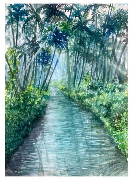"""""""Kerala: God's Own Country"""" in watercolors by Aprajita Lal (Original 14X11)"""