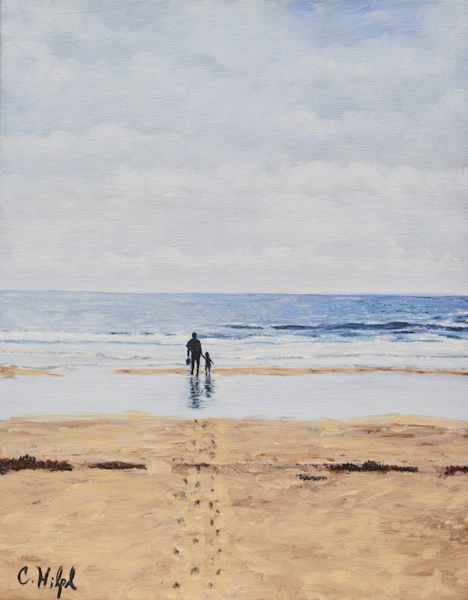 Father and Daughter on Beach 1 Print