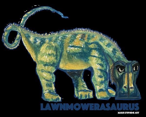 Lawnmowerasaurus Dinosaur  Art   Marie Stephens Art