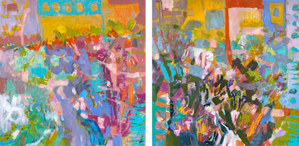 Large Colorful Abstract Diptych Painting, Original Oil by Dorothy Fagan
