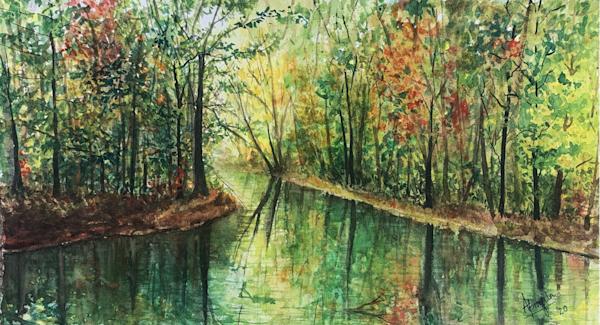"""""""Autumn Reflections"""" art print by Aprajita Lal"""