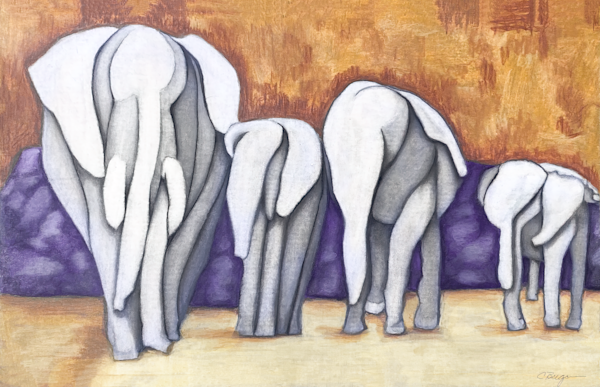 Elephants Parade No. 1, Drawing, 2021 by artist Carolyn A. Beegan