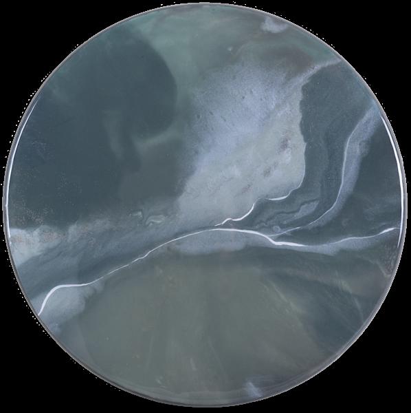 Gray Abstract Resin Circular Artwork by Frankie Hsu