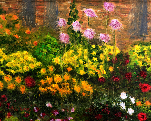 Monet inspired flower garden oil painting created in Amana Iowa