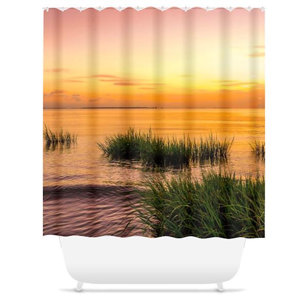 Bay Sunrise Shower Curtain   Willard R Smith Photography