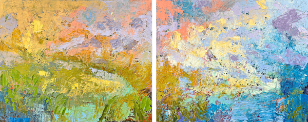 Original abstract landscape diptych