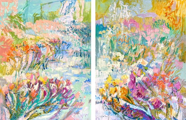 Abstract floral diptych painting