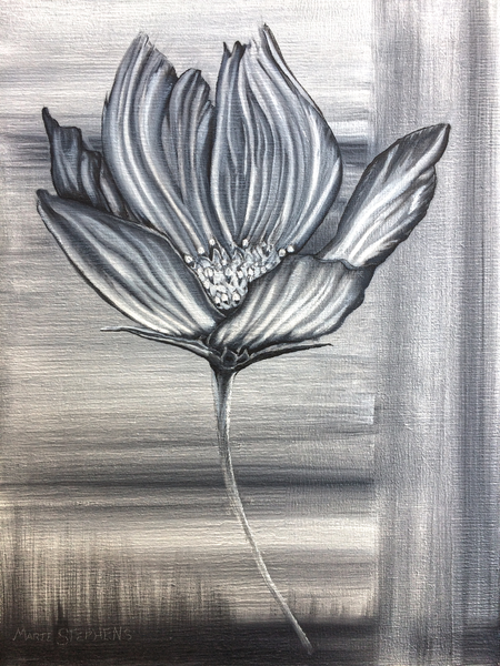 Painting of a Cosmos Flower by Marie Stephens Art