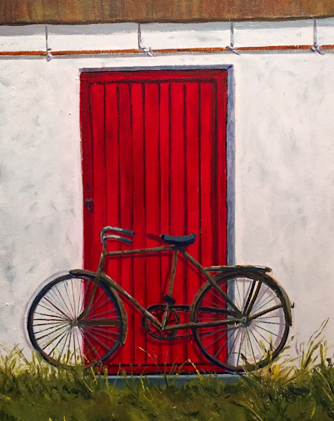 Bike In Front Of Cottage Print