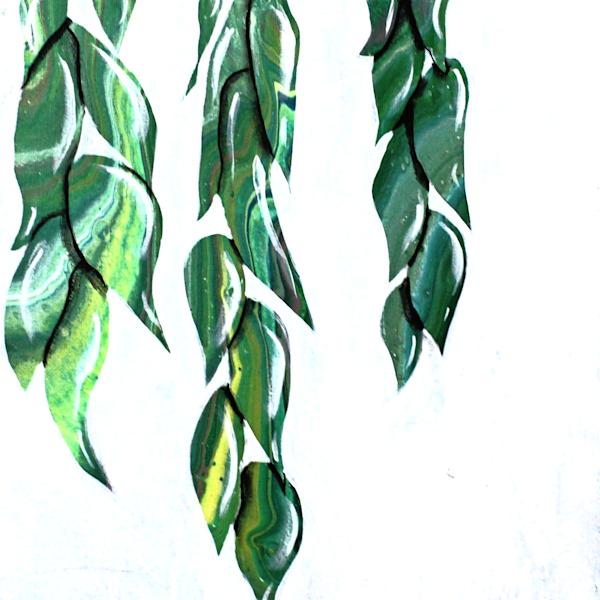 Hanging Leaves Embellished Fluid Art Painting Print
