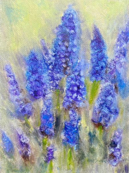 Plein Air Grape Hyacinths No. 1, Fine Art Print Art   Marie Stephens Art
