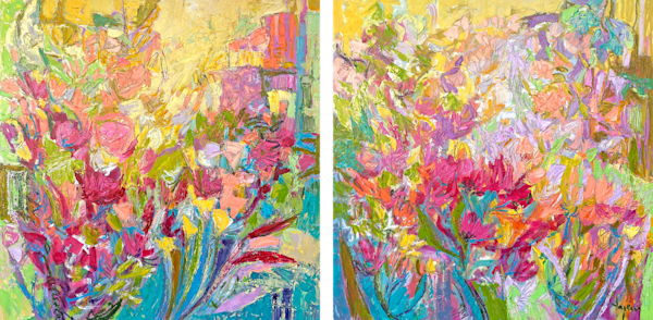 Bright Yellow Floral Abstract Diptych