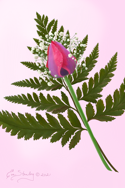 Tulip with Fern and Baby's Breath