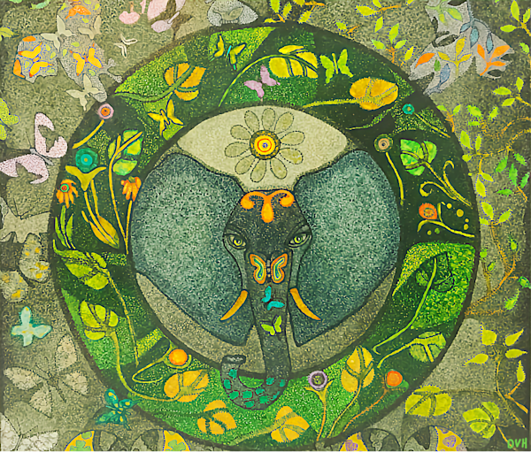 """Elephant Wisdom"" Original Alcohol Ink Painting By Dee Van Houten"
