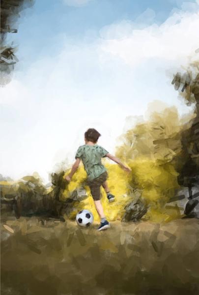 Boy And Soccer Ball Art | Windhorse