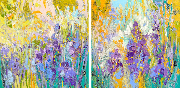 Iris Garden Diptych Abstract Painting