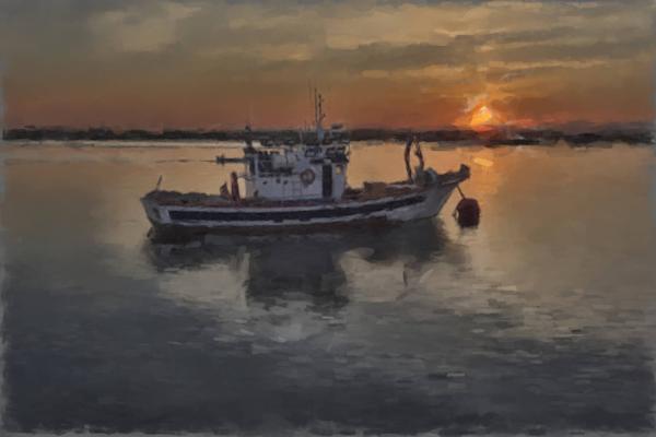 Fishing Boat In Harbor Art | Windhorse