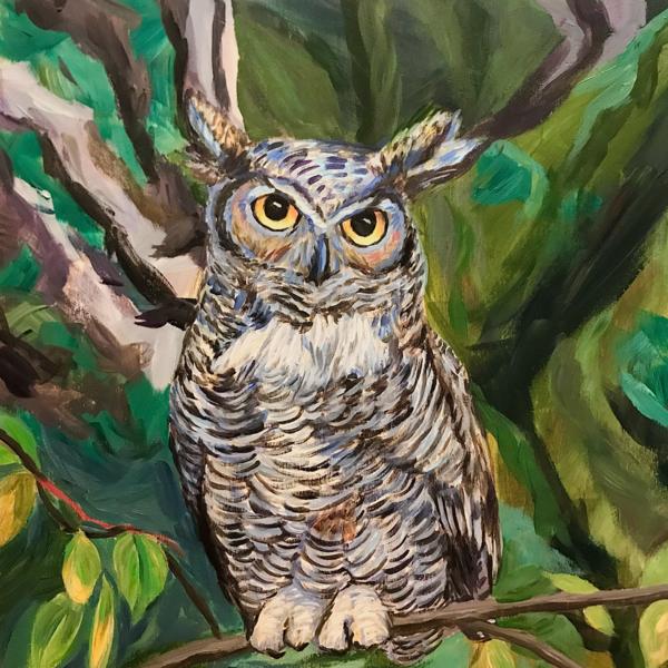 Great Horned Owl Alaska Art by Amanda Faith Thompson