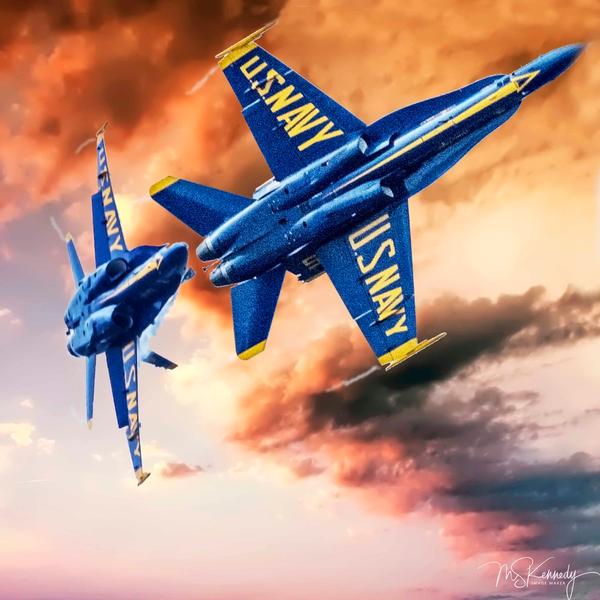 Curving Blue Angels Art | Cutlass Bay Productions, LLC