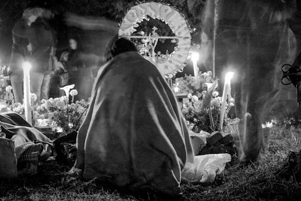 Day of the Dead Vigil Mexico cemetary night black & white Día de Muertos or Día de los Muertos