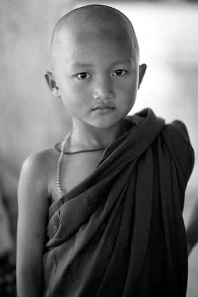 Novice Monk in Myanmar black & white