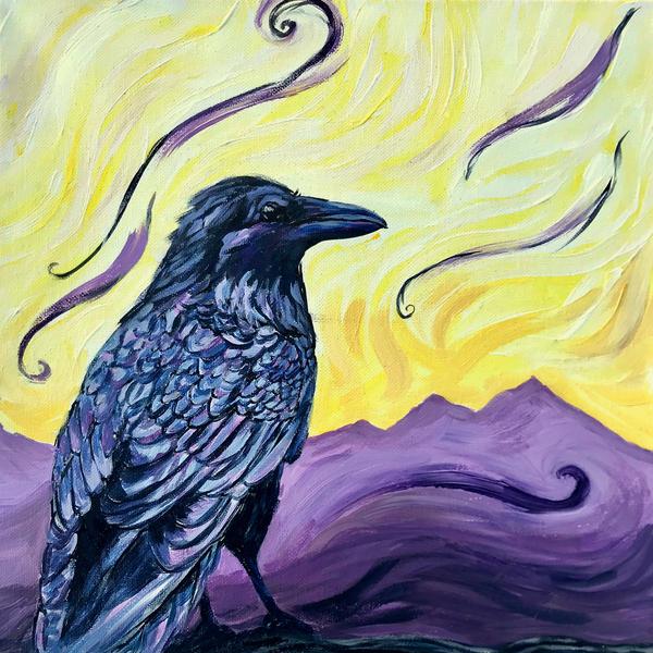 Lady Raven Alaska Art Painting by Amanda Faith