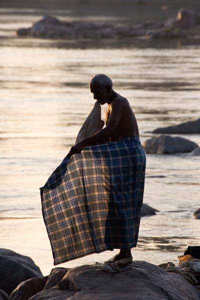 man bathing, river, bath, India
